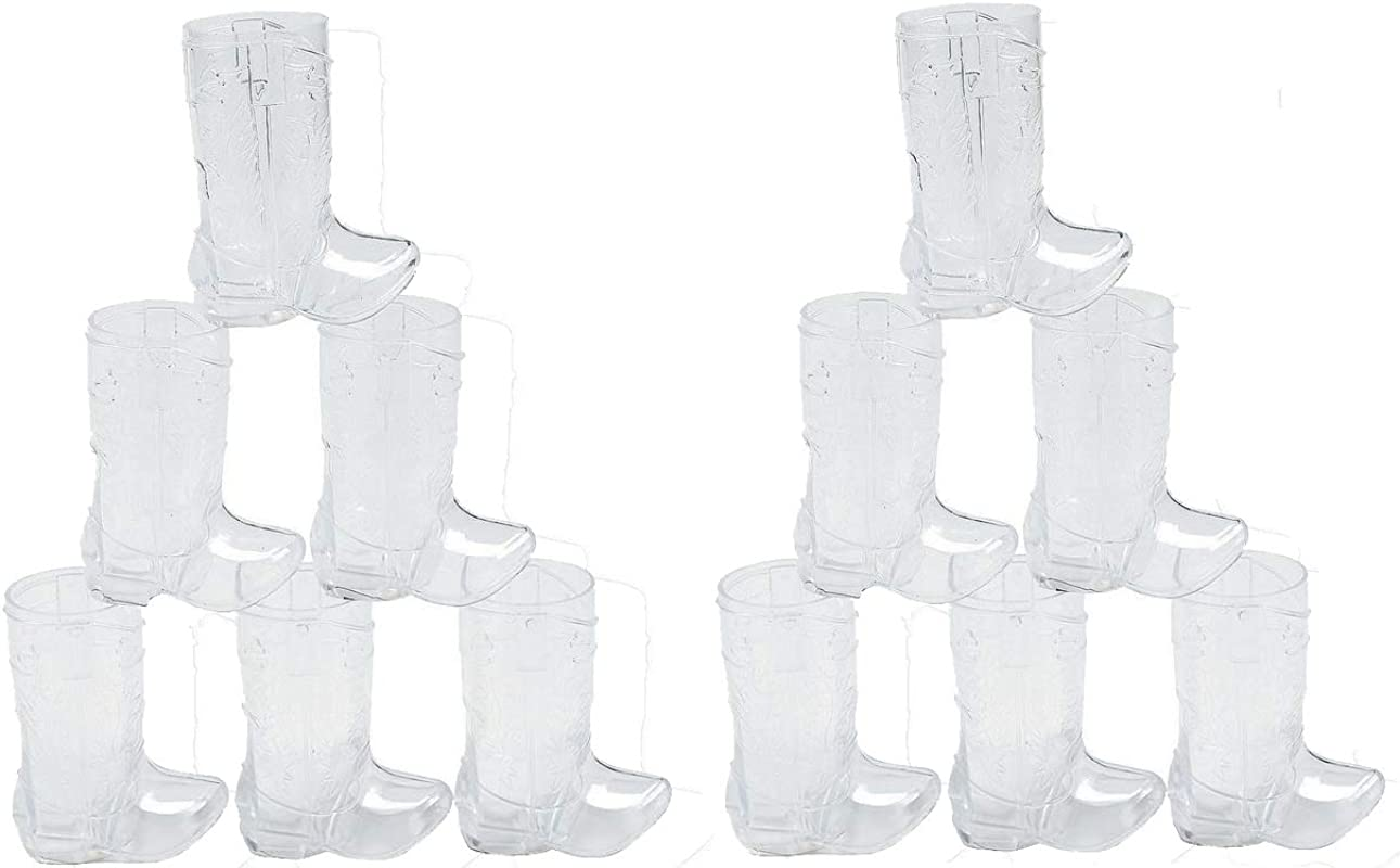 Fun Express Plastic Mini Boot Glasses 2 25oz Party Supplies Drinkware Shot Glasses 12 Pieces