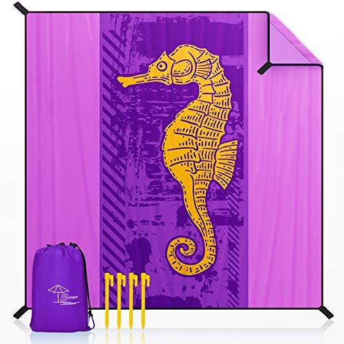 OCOOPA Stranddecke sandfrei XXL, 300x280cm Extra groß, Picknickdeck wasserdicht weiches und strapazierfähiges Meterial, leicht und tragbar, perfekt für Reisen, Camping, Strandurlaub, Hippocampus