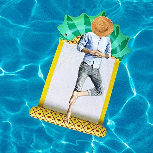 Hamaca de Agua Inflable Piscina de Piña Flotador de Verano Piscina Flotador Tumbona Cama Sofá de Aire para Adultos Al Aire Libre Fiesta de Playa Juegos de Piscina