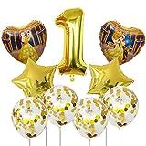 Qsdxlsd Globo 9pcs Bella y la Bestia de Aluminio de 30 Pulgadas Globos Decoraciones de la Fiesta de cumpleaños número Globo Globos Princesa de la Muchacha decoración (Color : 1)