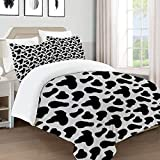 UFICTTFJ Juego de Funda nordica,Ropa de Cama,Cow Print Cow Hide Pattern with Spots Farm Life with Cattle Camouflage Animal Skin,Microfibra,Edredon 220x240cm con 2 Fundas de Almohada 50x80cm