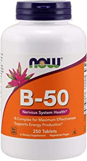 NOW Supplements, Vitamin B-50 mg, Energy Production*, Nervous System Health*, 250 Tablets