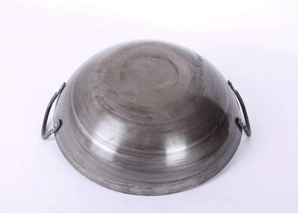 LIUSHI Wok Professionnel binaural en Fonte Wok Domestique antiadhésif de Grande capacité 36 cm - 80 cm adapté pour cuisinière à gaz 70 cm 45cm