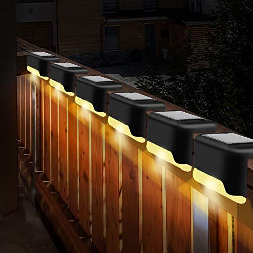 OVAREO Lámparas Solares Exterior Jardín,6 Piezas Luces LED Solares Para Exteriores Jardin, IP55 Impermeables Luces Exteriores Solares LED,Para Escaleras, Terrazas, Peldaños y Vallas, Blanco Cálido