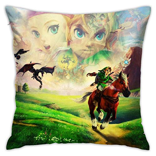 hongze The Legend of Zelda Throw Pillow Covers Square Plush Pillowcases Decorative Printing Soft for Living Room Sofa Child Bed Home Decor Pillowslip 18 X 18 Inch 45 X 45 cm