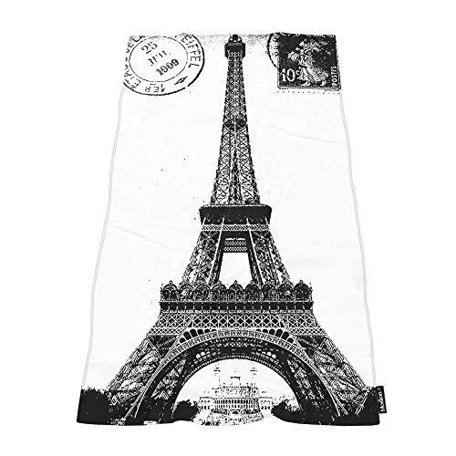 SevenX Toallas de baño Suaves Frech Paris Torre Eiffel Ciudad del Amor Negro Blanco Cómodo Toalla de baño/Playa/Camping para Mujeres Hombres Niñas Niños Tamaño Grande 64x32 Pulgadas