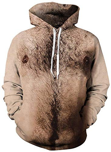 Mens Womens Unisex 3D Printed Novelty Hoodies Funny Bare Hairly Chest Naked Body Muscle Belly Novelty Plus Size Hooded Sweatshirt Pullover with Pockets