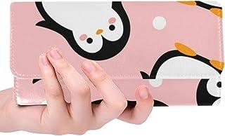 Rfid Blocking Purse Wallet Clutch Phone Case Cartoon Penguin Happy Womens Credit Card Holder Wallet Trifold Leather Long Strap Wallet Credit Card Holder Case Handbag