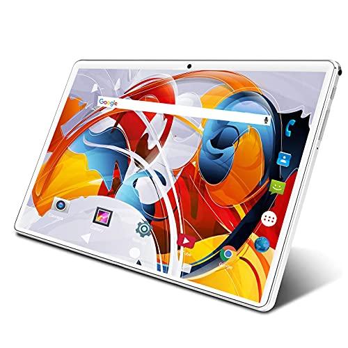 タブレット 10インチ Wi-Fiモデル 3G SIM電話機能付きタブレット Android 9.0 クアッドコアCPU 鮮やかな解像度1280*800IPS 32GB ROM 128GBまで拡張可能 デュアルカメラ/スピーカー BT/GPS/FM/USB接続対応 仕事、リラックス、勉強に向き タブレット 日本語取扱説明書 (白)