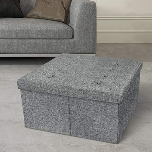 Otto & Ben Top Tufted Folding Tweed Linen Trunk Toomnas Bench Foot Rest, 30x30x15, Light Grey
