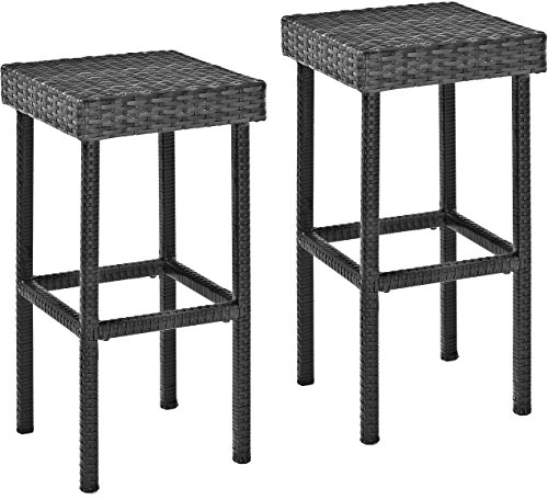 Crosley Furniture CO7108-WG Palm Harbor Outdoor Wicker 29-inch Bar Height Stools, Set of 2, Weathered Gray