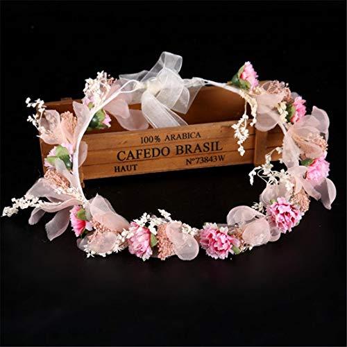 YUMUYMEY Blume Heukranz Brautkleid Zubehör Fee rosa Stirnband Haarband Brautschmuck (Farbe : Colorful)