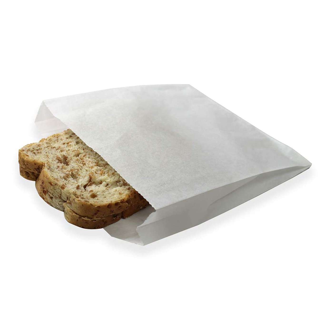 100 Pack Plain 7-3/4 x 6-1/2 x 1-1/2 Dry Wax Paper Sandwich Bags, Food Grade Water Grease Resistant, White Glassine Semi Translucent by Mighty Gadget