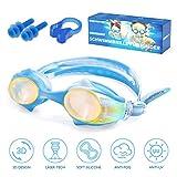 SHENMATE Schwimmbrille Kinder,Laser Lens Technologie Anti Nebel UV-Schutz Kein Leck-Mit,Wasserdicht...
