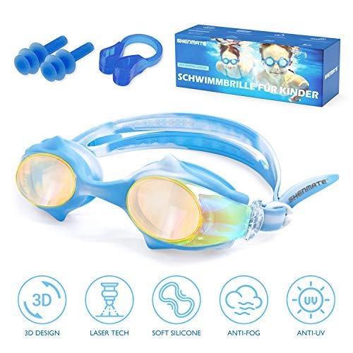 SHENMATE Schwimmbrille Kinder,Laser Lens Technologie Anti Nebel UV-Schutz Kein Leck-Mit,Wasserdicht Weiches Silikon Taucherbrille Kinder 2X Ohrstöpsel 1x Nasenclips Aufbewahrungsbox(4-12 Jahre)
