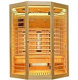 Home Deluxe – Infrarotkabine Redsun XL Deluxe - Vollspektrumstrahler und Karbon-Flächenstrahler, Holz: Hemlocktanne, Maße: 155 x 120 x 190 cm |...