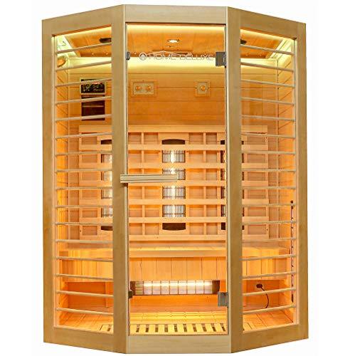 Home Deluxe – Infrarotkabine – Redsun XL Deluxe - Vollspektrumstrahler und Karbon-Flächenstrahler – Holz: Hemlocktanne - Maße: 155 x 120 x 190 cm – inkl. komplettem Zubehör