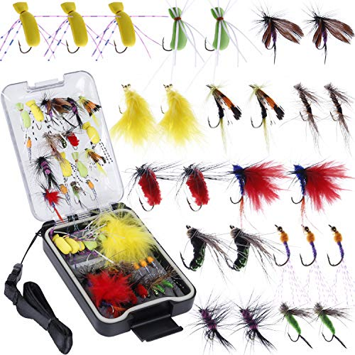 PLUSINNO Fly Fishing Flies Kit, 26/78Pcs Handmade Fly Fishing Gear with Dry/Wet Flies, Streamers, Fly Assortment Trout Bass Fishing with Fly Box