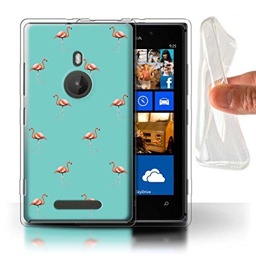 Stuff4 Gel TPU Hülle/Case für Nokia Lumia 925 / Exotische Vögel/Grün Muster/Netter Flamingo Karikatur Kollektion