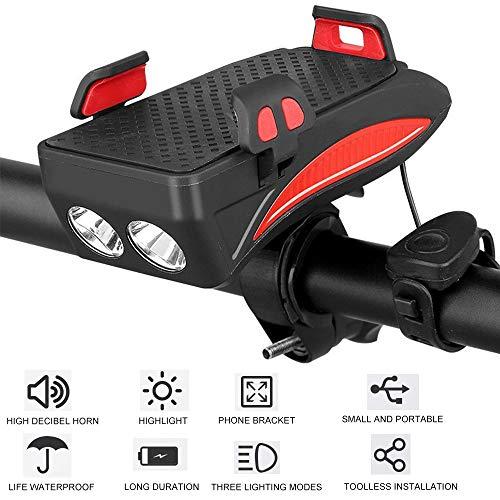 3 en 1 bicicleta de la luz del teléfono móvil de soporte for teléfono Soporte Montar la luz delantera timbres de bicicleta de bicicletas móvil linterna de la bici de carga USB Soporte Fijo 3 modos de