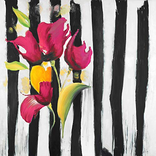 Learn More About BEGIN DECO MAISON - HOME DECOR 2080-3636-FL112-1 Pink Flowers on Black Stripes, Fin...