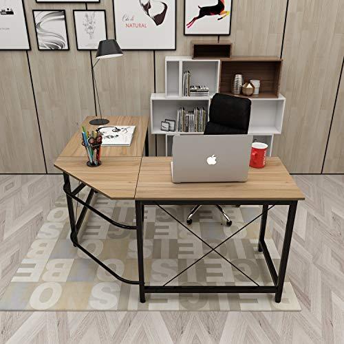 DlandHome L Escritorio de la computadora Gaming Mesa 150cm + 150cm, Ordenador Portátil para PC Estación de Trabajo de Estudio Mesa de Esquina con CPU Stand, Roble & Negro