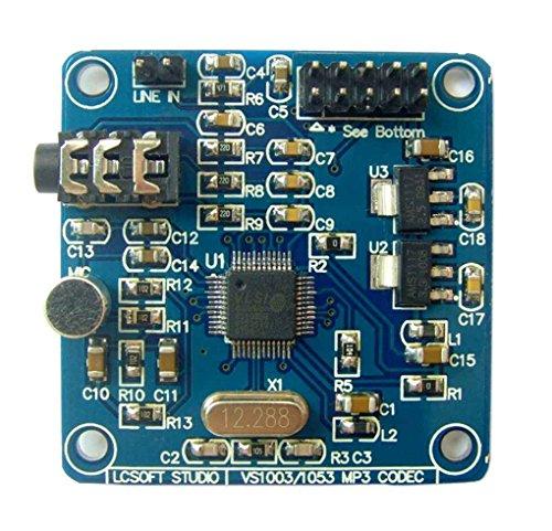 Busirde VS1053 MP3 12.228Mhz Quarzoszillator Audio mit Aufnahmefunktion, VS1053 Decodierungsmodul mit Aufnahmefunktion Demoboard Vorstand