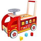 Product Image of the Pidoko Kids Ride On Fire Truck - Wooden Push and Pull Walker Cart - Balance...