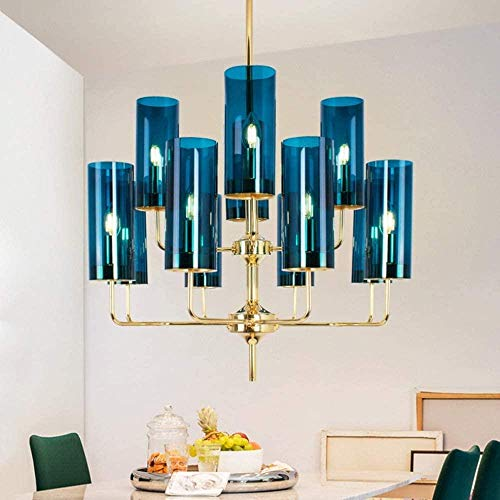 Lámpara LED de lujo con luz posmoderna 12 Lámpara de techo de cristal Diámetro 70 cm Altura total de la lámpara 58 cm Área aplicable azul 15-20m2
