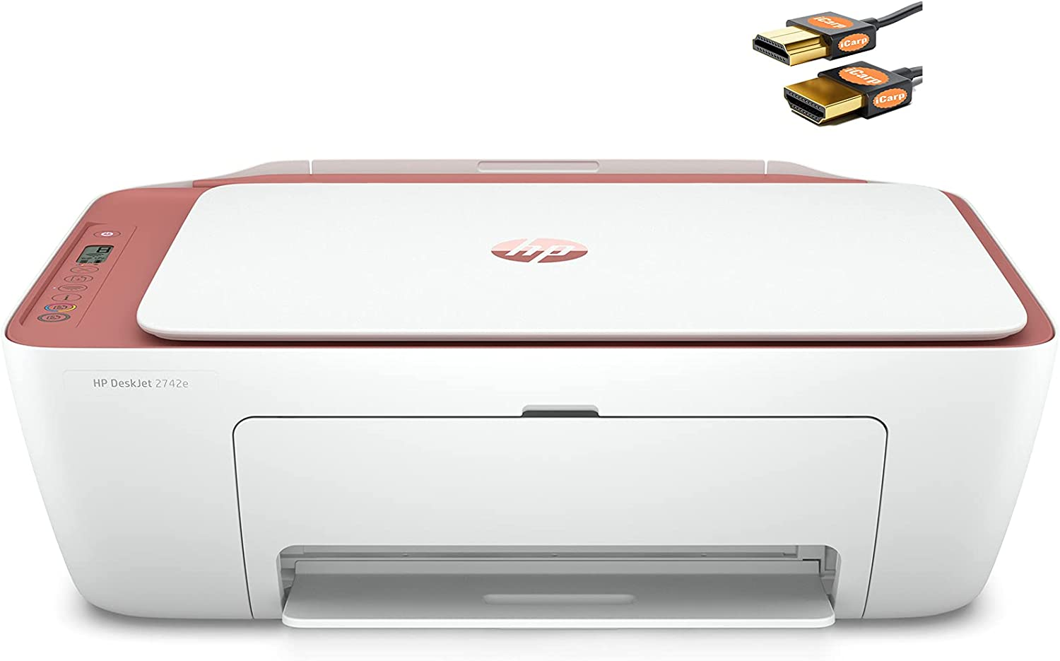 HP DeskJet 2700 Series Wireless Inkjet Color All-in-One Printer - Print Copy Scan Fax - Mobile Printing - WiFi USB Connectivity - Up to 7 ISO PPM - Up to 4800 x 1200 DPI - Cinnamon + HDMI Cable