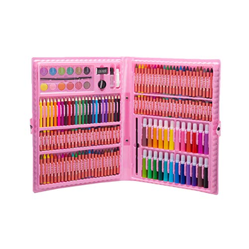 H & B 168-Piece Deluxe Art Set Art Supplies for Drawing, Painting and More in a Plastic Case Crayon Oil Pastel Paint Brush Drawing Tool Art School Stationery Set-Pink