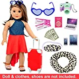 ZITA ELEMENT 16 Pcs Doll Travel Suitcase Play Set for American 18 Inch