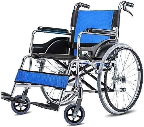 Busirsiz. Con Sedia a rotelle, in Lega di Alluminio Anziani disabili Privo Manuale con Freno a Mano, Leggero Pieghevole Viaggi Portatile