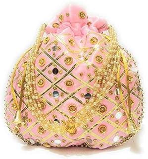 Zoya Gems & Jewellery Baby Pink Potli Wristlets Ethnic Potli For Women's | Designer Rajasthani Style Royal Clutch Silk Bat...