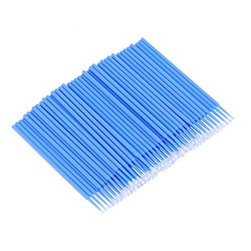 Minkissy 400Pcs Micro Applicateurs Brosses Jetables Extension de Cils Écouvillons Maquillage Brosse à Mascara pour Extensions de Cils (Bleu)