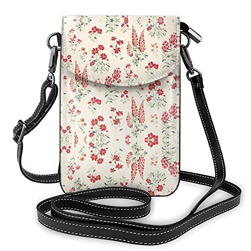 Bolso cruzado del monedero del teléfono celular del papel pintado de la flor, bolso del teléfono, bolso de la cartera del teléfono celular del Crossbody del monedero