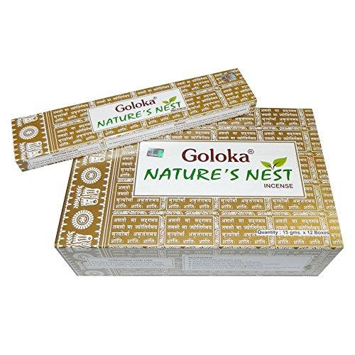 Encens Goloka- Bastoncini di incenso indiano Nature's Nest, 12 packs = 144 sticks