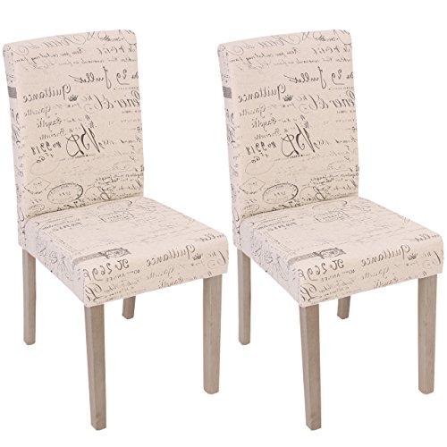 Mendler 2X Esszimmerstuhl Littau, Stuhl Küchenstuhl - Textil mit Schriftzug, Creme, Beine Struktur - Eiche