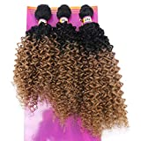 Synthetic Weave Kinky Curly Hair 3 Bundles Ombre Two Tone Black To Golden 16' 18' 20' Mixed (T1/27#)