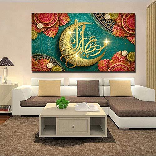 wZUN Carteles e Impresiones de Arte islámico Arte de la Pared Pintura en Lienzo Eid Mubarak Ilustración Pinturas Decorativas en la decoración de la Pared 50x90cm