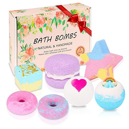 Badebomben Geschenkset, 7er Badekugeln Geschenk für Frauen, Freundin, Mutter, Perfektes Badeperlen geschenke für Valentinsgruß Geburtstags Muttertag weihnachten