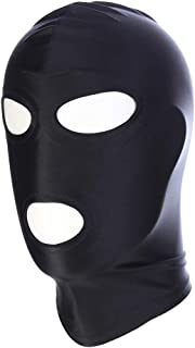 Amosfun Elastic Black Breathable Open Eyes Open Mouth Face Cover Blindfold Mask Cosplay Costume Hood Unisex Headgear - Size M