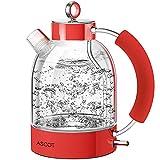 Wasserkocher Glas, ASCOT Glas Wasserkocher Elektrischer Wasserkocher Edelstahl, 2200W, 1,6L, Retro Design, BPA frei, leiser Schnellkochkessel, Trockengehschutz und automatische Abschaltung (Rot)