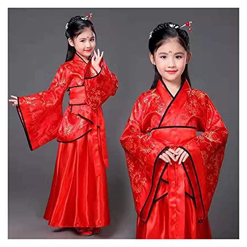 FKJSP Falda Hanfu estilo chino oriental retro hanfu cosplay niños traje de princesa tradicional chino vestido de niña (color: amarillo, tamaño: 5 6 años (110 120 cm)