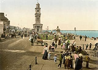 PS1 Vintage 1890's Photochrom Photo Clock Tower Herne Bay Print Re-Print - A3 (432 x 305mm) 16.5