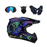Casco de motocros/niños Downhill cascos para moto para mujer y hombre, protección completa / casco enduro con visera, gafas, máscara de ABS/Unisex (XL (58-59 cm))