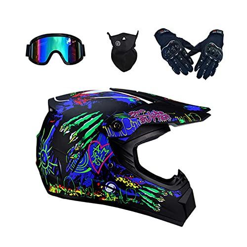 Motocross Helme/Kinder Downhill Helme/Motorrad Crosshelme für Damen Herren Sicherheit Schutz/Fullface Helm/Endurohelme mit Visier Brille Handschuhe Maske/ABS-Schale/Unisex (L(56-57 cm))
