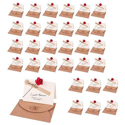 メッセージカード ローズ 花束 30枚セット グリーティングカード 誕生日カード 記念日カード 祝いカード 感謝状 結婚式 卓上札 花店 席札 おしゃれ お祝い 年賀状 挨拶状 封筒 シール 付き