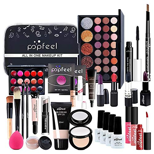 Make up Set, Cosmetics Schminkkassette Schminkkoffer Make-up Essential Starter-Kit Mit Lipgloss, Lidschatten-Palette, Lippenstift, Concealer, Make-up-Geschenkset für Frauen...