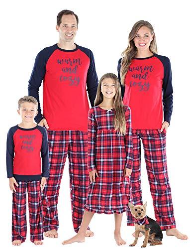SleepytimePJs Christmas Family Matching Blue and Red Plaid Fleece Pajamas, Red Blue Plaid, Kid's Set - 8